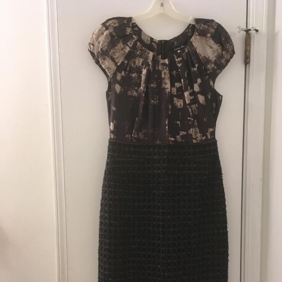 Lida Baday Dresses & Skirts - Lida Baday Brown Beige Black Dress Wool Blend Sz 8